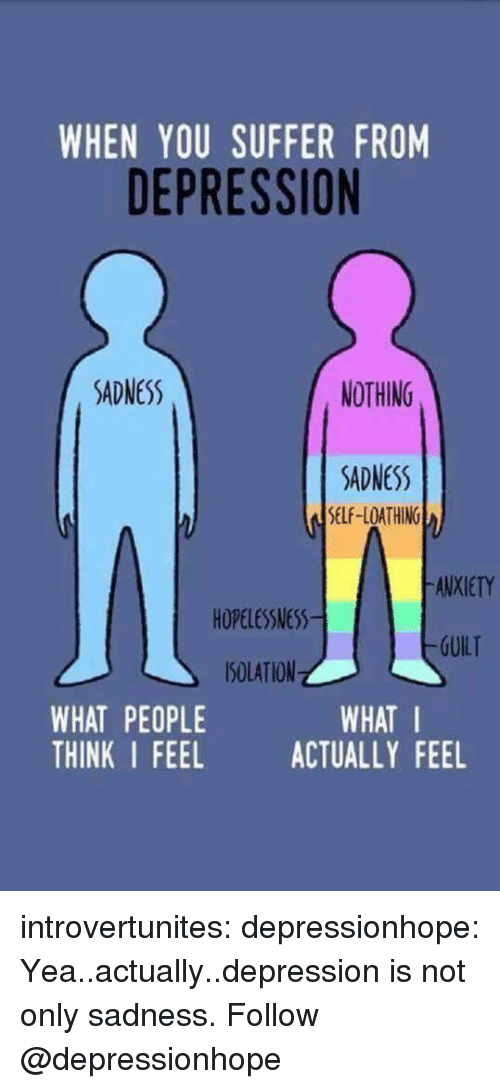 You Suffer: WHEN YOU SUFFER FROM  DEPRESSION  SADNESS  NOTHING  SDNESS  SELF-LOATHING  ANXIETY  HOPELESSNESS  SOLATION  THINK I FEEL ACTUALLY FEEL  -GUILT  WHAT PEOPLE  WHAT I introvertunites:  depressionhope:  Yea..actually..depression is not only sadness.  Follow @depressionhope