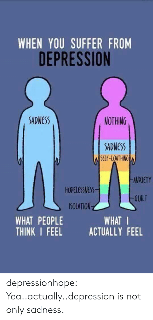 You Suffer: WHEN YOU SUFFER FROM  DEPRESSION  SADNESS  NOTHING  SDNESS  SELF-LOATHING  ANXIETY  HOPELESSNESS  SOLATION  THINK I FEEL ACTUALLY FEEL  -GUILT  WHAT PEOPLE  WHAT I depressionhope:  Yea..actually..depression is not only sadness.