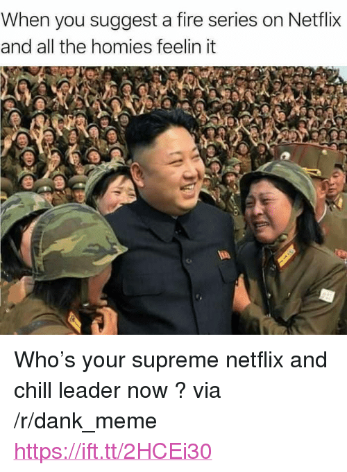 "Chill, Dank, and Fire: When you suggest a fire series on Netflix  and all the homies feelin it <p>Who's your supreme netflix and chill leader now ? via /r/dank_meme <a href=""https://ift.tt/2HCEi30"">https://ift.tt/2HCEi30</a></p>"