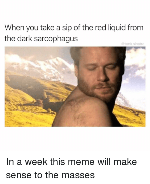 Funny, Meme, and Dark: When you take a sip of the red liquid from  the dark sarcophagus  @tank.sinatra In a week this meme will make sense to the masses