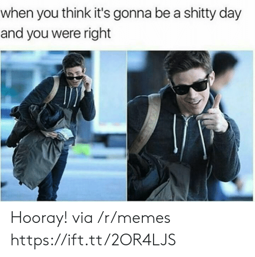 hooray: when you think it's gonna be a shitty day  and you were right Hooray! via /r/memes https://ift.tt/2OR4LJS