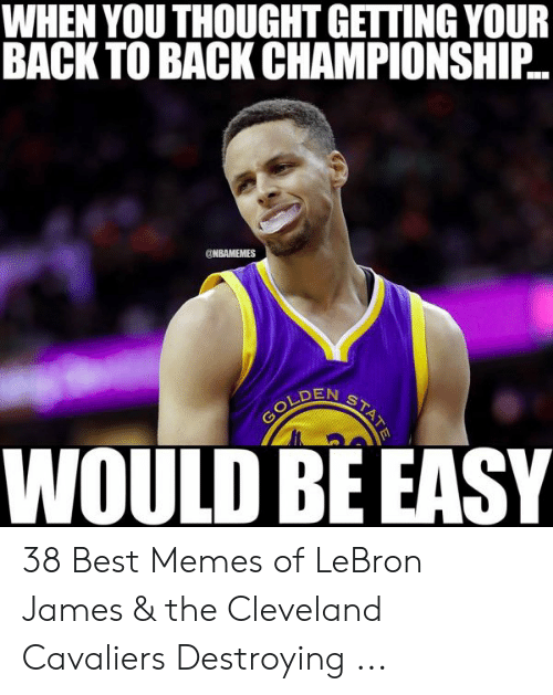 lebron james meme: WHEN YOU THOUGHT GETTING YOUR  BACK TO BACK CHAMPIONSHIP  ONBAMEMES  DENs  WOULD BE EASY 38 Best Memes of LeBron James & the Cleveland Cavaliers Destroying ...
