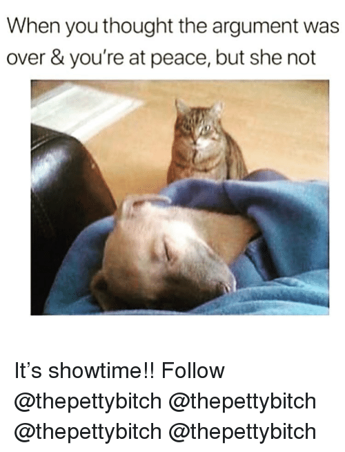 Memes, Showtime, and Peace: When you thought the argument was  over & you're at peace, but she not It's showtime!! Follow @thepettybitch @thepettybitch @thepettybitch @thepettybitch