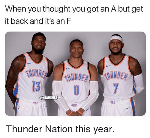 Nba, Thought, and Back: When you thought you got an A but get  it back and it's an F  HUND  130  @NBAMEMES  OKC  ОКС Thunder Nation this year.