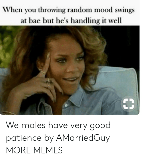Bae, Dank, and Memes: When you throwing random mood swings  at bae but he's handling it well  33 We males have very good patience by AMarriedGuy MORE MEMES