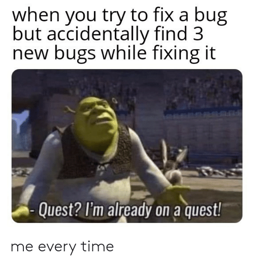 Fixing: when you try to fix a bug  but accidentally find 3  new bugs while fixing it  Quest? I'm already on a quest! me every time