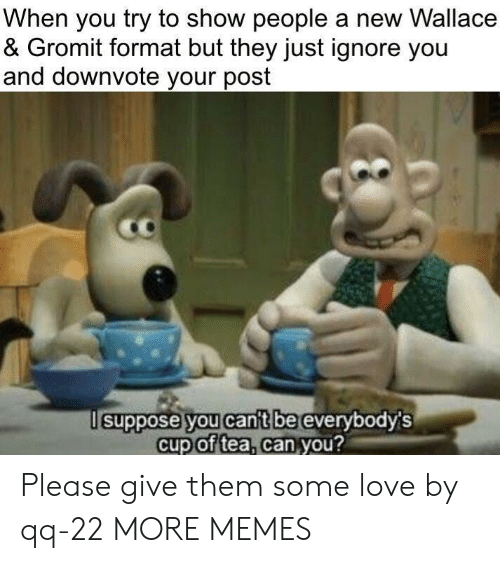 Dank, Love, and Memes: When you try to show people a new Wallace  & Gromit format but they just ignore you  and downvote your post  suppose you cant be  everybodys  cup of tea, can you?  2 Please give them some love by qq-22 MORE MEMES
