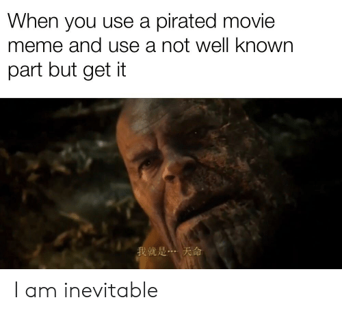 Movie Meme: When you use a pirated movie  meme and use a not well known  part but get it  我就是… 天命 I am inevitable