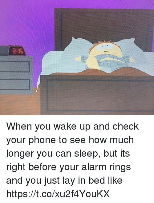 In Bed Like: When you wake up and check your phone to see how much longer you can sleep, but its right before your alarm rings and you just lay in bed like https://t.co/xu2f4YouKX