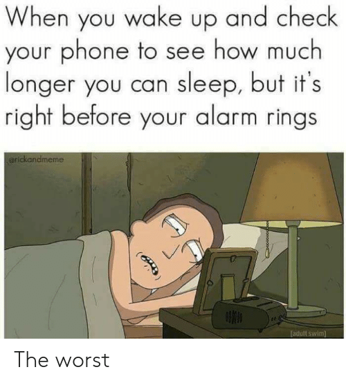 Adult Swim: When you wake up and check  your phone to see how much  longer you can sleep, but it's  right before your alarm rings  arickandmeme  adult swim  (B The worst