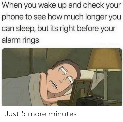 Phone, Alarm, and Sleep: When you wake up and check your  phone to see how much longer you  can sleep, but its right before your  alarm rings Just 5 more minutes