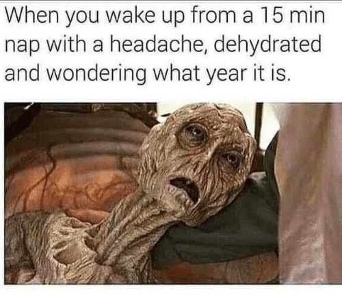 Dehydrated: When you wake up from a 15 min  nap with a headache, dehydrated  and wondering what year it is.