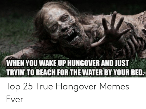 Top 25: WHEN YOU WAKE UP HUNGOVER AND JUST  TRYIN' TO REACH FOR THE WATER BY YOUR BED. Top 25 True Hangover Memes Ever