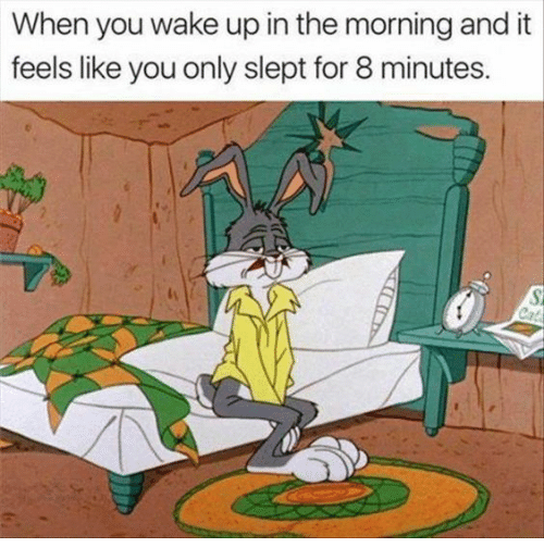 Wake, You, and For: When you wake up in the morning and it  feels like you only slept for 8 minutes.
