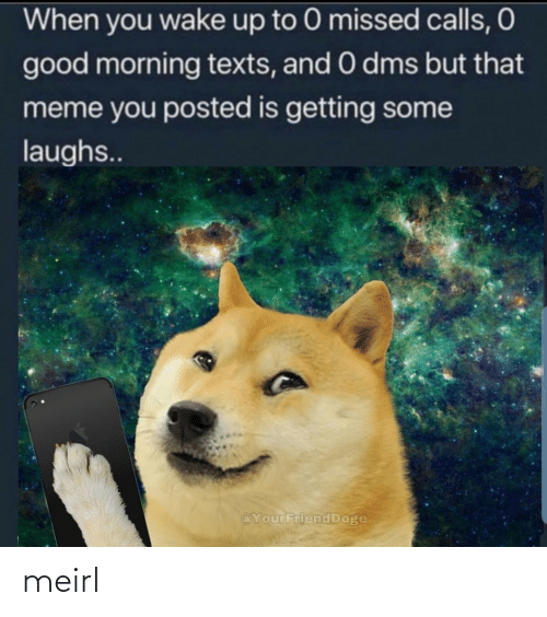 Good Morning: When you wake up to 0 missed calls, O  good morning texts, and 0 dms but that  meme you posted is getting some  laughs..  @YourFriend Doge meirl