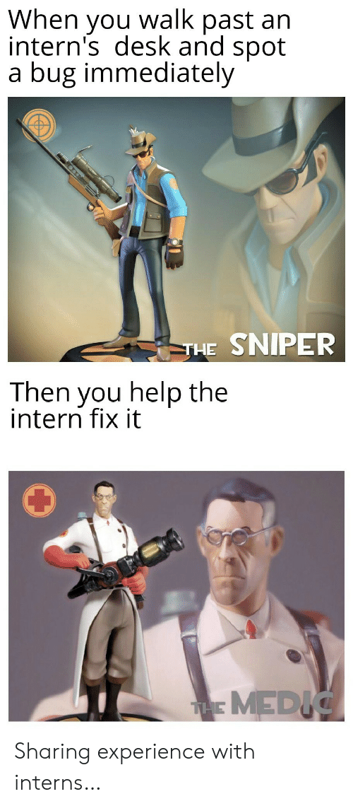 walk past: When you walk past an  intern's desk and spot  a bug immediately  THE SNIPER  Then you help the  intern fix it  THMEDIC Sharing experience with interns…