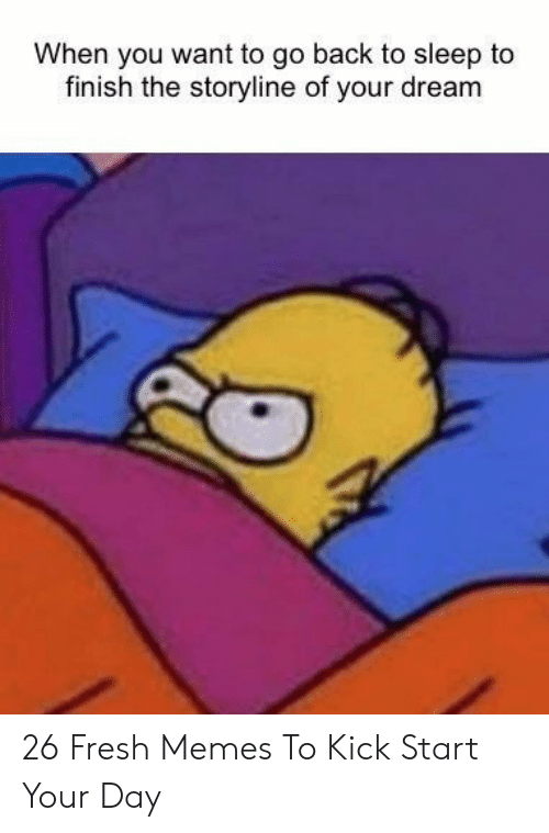 Fresh, Memes, and Sleep: When you want to go back to sleep to  finish the storyline of your dream 26 Fresh Memes To Kick Start Your Day