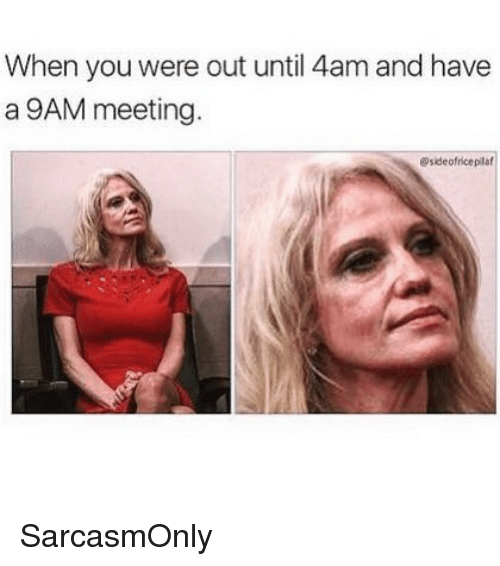 Funny, Memes, and You: When you were out until 4am and have  a 9AM meeting  @sideofriceplaf SarcasmOnly