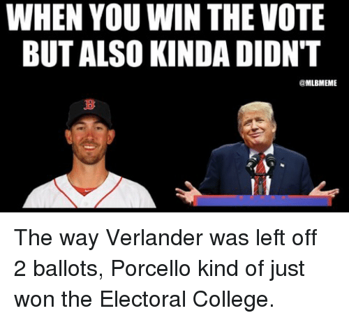 verlander: WHEN YOU WIN THE VOTE  BUT ALSO KINDA DIDNT  aMLBIMEME The way Verlander was left off 2 ballots, Porcello kind of just won the Electoral College.