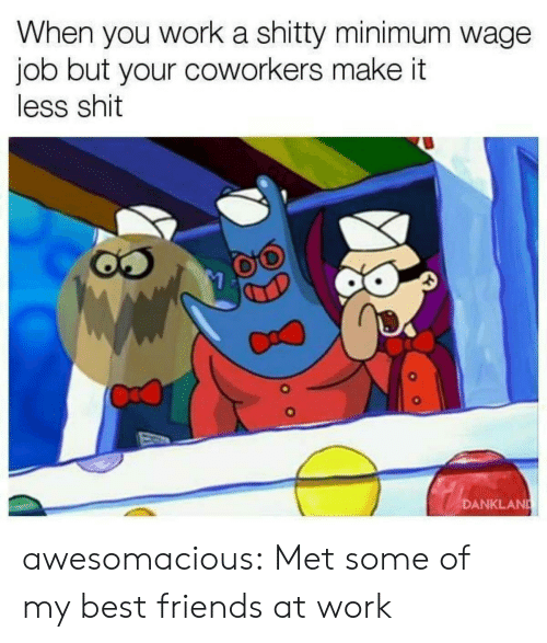 minimum-wage-job: When you work a shitty minimum wage  job but your coworkers make it  less shit  DANKLAN awesomacious:  Met some of my best friends at work