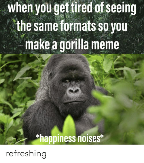 Gorilla Meme: when youget tired of seeing  the same formats so you  make a gorilla meme  happiness noises* refreshing