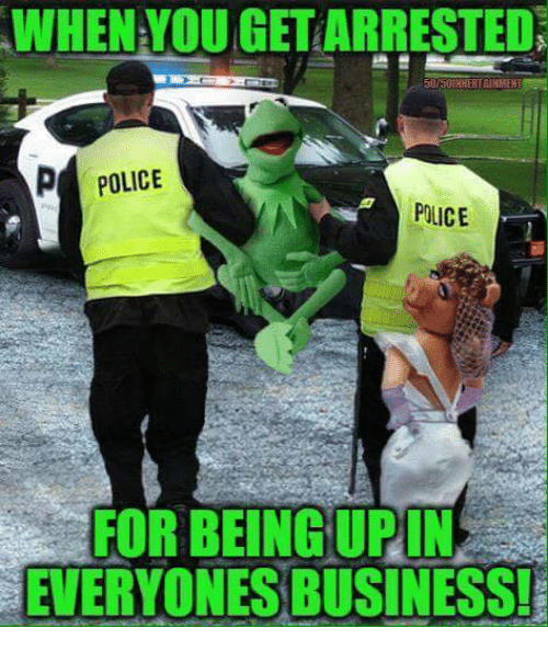 Upine: WHEN YOUGETARRESTEDN  p POLICE  POLICE  FOR BEING UPIN  EVERYONES BUSINESS!