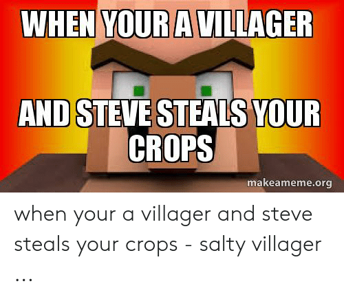 Villager Meme: WHEN YOUR A VILLAGER  AND STEVE STEALS YOUR  CROPS  makeameme.org when your a villager and steve steals your crops - salty villager ...