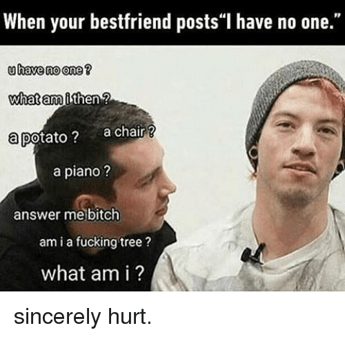 "Bitch, Dank, and Fucking: When your bestfriend posts""I have no one.""  uhave no one ?  what am  a potato ?  then  a chair?  a piano ?  answer me bitch  am i a fucking tree?  what am i ? sincerely hurt."
