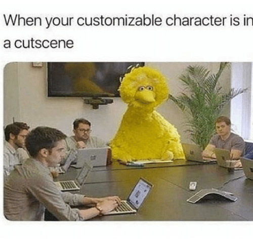 Character Is: When your customizable character is in  a cutscene