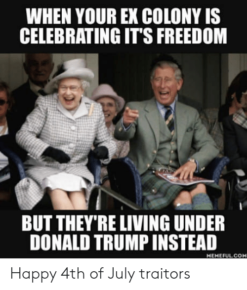 Donald Trump, 4th of July, and Happy: WHEN YOUR EX COLONY IS  CELEBRATING IT'S FREEDOM  BUT THEY'RE LIVING UNDER  DONALD TRUMP INSTEAD  MEMEFULCOM Happy 4th of July traitors