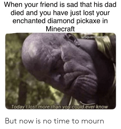 Mourn: When your friend is sad that his dad  died and you have just lost your  enchanted diamond pickaxe in  Minecraft  u/SquareForceo  Today I lost more than you could ever know But now is no time to mourn