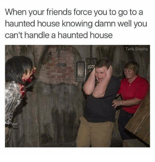 tanked: When your friends force you to go to a  haunted house knowing damn well you  can't handle a haunted house  Tank Sinatra