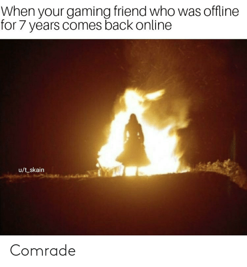 Gaming: When your gaming friend who was offline  for 7 years comes back online  u/t_skain Comrade