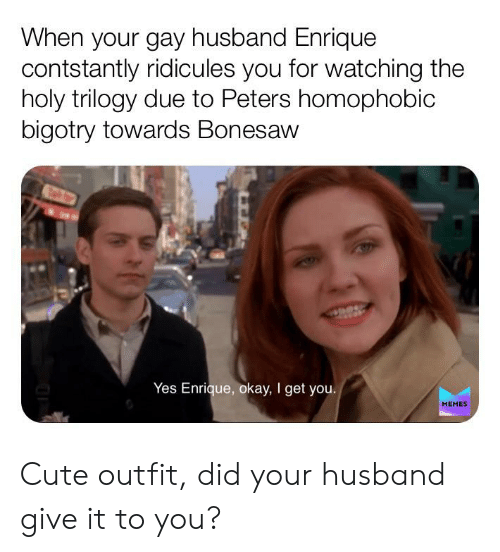 Cute, Memes, and Okay: When your gay husband Enrique  contstantly ridicules you for watching the  holy trilogy due to Peters homophobic  bigotry towards Bonesaw  Yes Enrique, okay, I get you.  MEMES Cute outfit, did your husband give it to you?