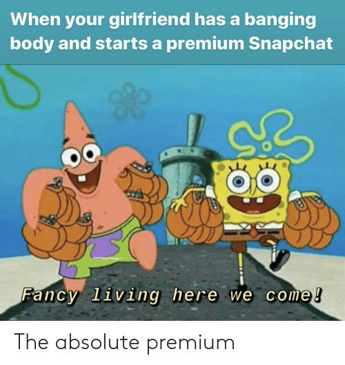 Snapchat, Fancy, and Girlfriend: When your girlfriend has a banging  body and starts a premium Snapchat  @apengahobmemegod  Fancy living here we come! The absolute premium