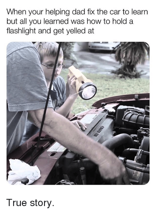 Dad, Memes, and True: When your helping dad fix the car to learn  but all you learned was how to hold a  flashlight and get yelled at True story.