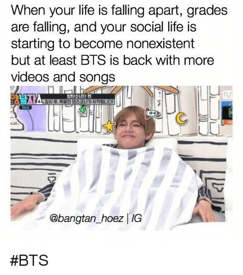 Life, Videos, and Songs: When your life is falling apart, grades  are falling, and your social life is  starting to become nonexistent  but at least BTS is back with more  videos and songs  @bangtan _hoez IG #BTS