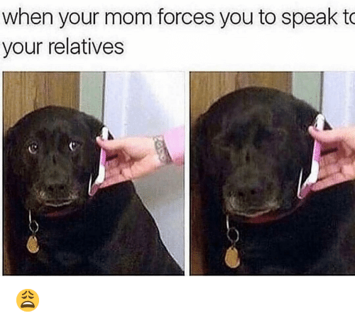 Funny, Mom, and Speak: when your mom forces you to speak to  your relatives 😩