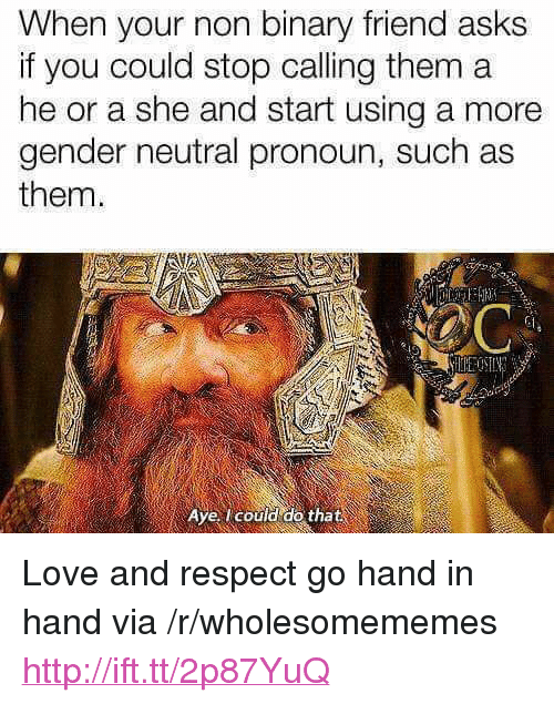 """hand in hand: When your non binary friend asks  if you could stop calling them a  he or a she and start using a more  gender neutral pronoun, such as  them.  Gi  Aye, could do that <p>Love and respect go hand in hand via /r/wholesomememes <a href=""""http://ift.tt/2p87YuQ"""">http://ift.tt/2p87YuQ</a></p>"""