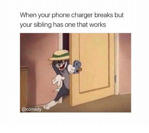 Phone Charger: When your phone charger breaks but  your sibling has one that works  comedy