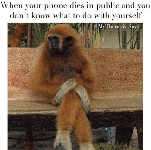 Phone, Public, and You: When your phone dies in public and you  don't know what to do with yourself  MyTherapist Says