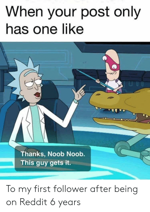 noob: When your post only  has one like  Thanks, Noob Noob.  This guy gets it. To my first follower after being on Reddit 6 years