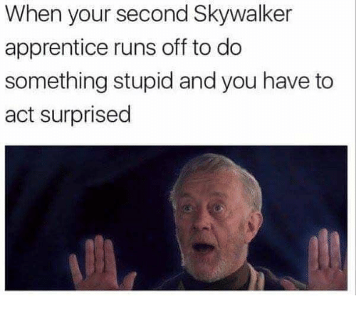 Do Something Stupid: When your second Skywalker  apprentice runs off to do  something stupid and you have to  act surprised