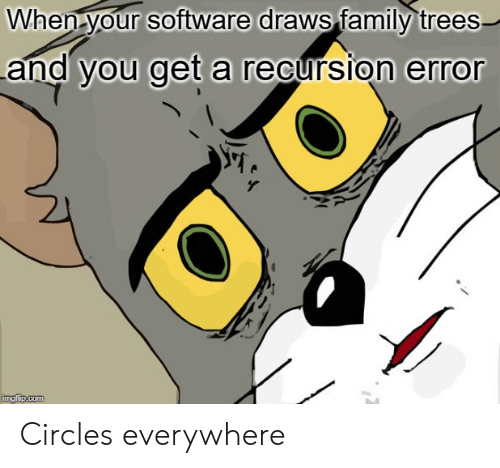 Draws: When your software draws family trees  and you get a recursion error  imgflip.com Circles everywhere
