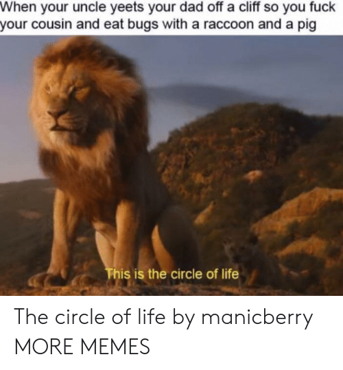 Dad, Dank, and Life: When your uncle yeets your dad off a cliff so you fuck  your cousin and eat bugs with a raccoon and a pig  This is the circle of life The circle of life by manicberry MORE MEMES