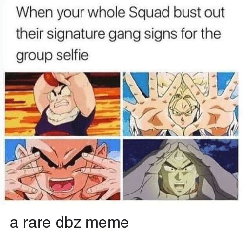 Dbz Meme: When your whole Squad bust out  their signature gang signs for the  group selfie