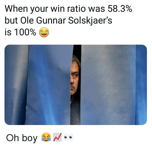 ratio: When your win ratio was 58.3%  but Ole Gunnar Solskjaer's  is 100% Ge  O E Oh boy 😂📈👀