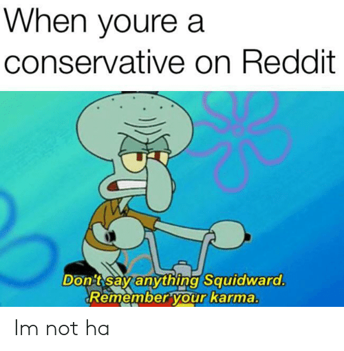 Conservative: When youre a  conservative on Reddit  Don tsay anything Squidward.  Remember your karma. Im not ha