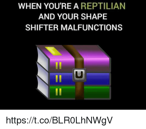 Shape, Youre, and  Shape Shifter: WHEN YOU'RE A REPTILIAN  AND YOUR SHAPE  SHIFTER MALFUNCTIONS https://t.co/BLR0LhNWgV