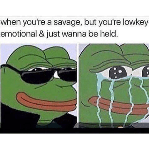 Held: when you're a savage, but you're lowkey  emotional & just wanna be held.
